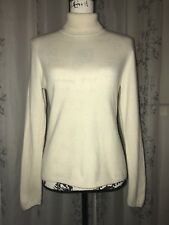 Macy's Charter Club 2-Ply 100%Cashmere Ivory Turtleneck Sweater Petite Size M