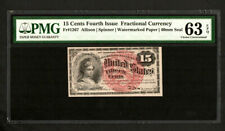 FR 1267  15 Cent 4th Issue Fractional Currency - PMG 63 EPQ Choice Unc (C32)