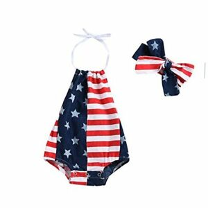 Baby Girls Boys Summer Outfits Clothes 4th of July 2018 Star 0-6 Months Blue