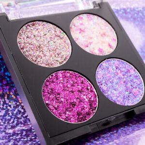4 Colors Eyeshadow Palette Glitter Diamond Sequins Metallic Waterproof Make Up