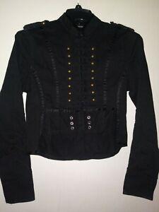 Nwot Womens Black Denim Marching Band Jacket Size Med