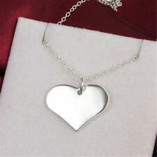 Smooth Heart Pendant Necklace Plated Jewelry For Women 925 Sterling Silver Gift