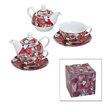 Teekanne Teetasse Unterteller Weihnachten Herz rot weiss weiß Porzellan