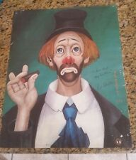 Red Skelton Vintage CLOWN WITH CIGAR 1972 Print Signed to Bill west may go bless