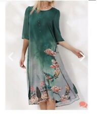 BNWT!! Floryday Silk Green Floral Summer Beach Dress Tunic A Line Midi Small