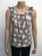 KIMCHI BLUE Ladies Top Size S Taupe Sleeveless Beige Flower Pattern Frill Sleeve