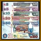 Zambia 2 5 10 20 50 Kwacha (5 Pcs Set), 2012 P-49/50/51/52/53 Fish Eagle Unc