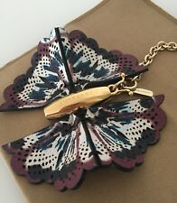 BURBERRY FLORAL PRINT LEATHER BUTTERFLY KEY RING BNWT