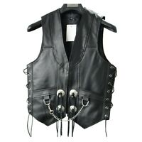 Men'-s Black Leather Vest Chain Concho Motorcycle Biker S to 6xl New