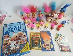 Lot of 23 Vintage Treasure Trolls, Russ, Troll Cards & Colorforms playset
