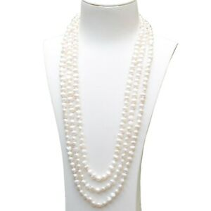 Amazing 7-8mm baroque natural White freshwater pearl long necklace 200cm DL318