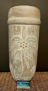 Wooden Palm Pot Whitewash Large 50cm High 22cm Diameter NEW