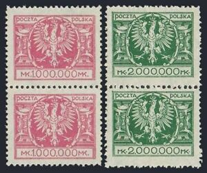 Poland 213-214 pairs,MNH.Michel 199-200. Arms of Poland,1924.