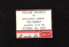 Ted Nugent 10-30-1977 Original Concert Ticket Stub McNichols Arena