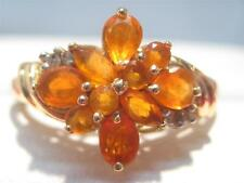 STUNNING 10KT SOLID GOLD MEXICAN FIRE OPAL & DIAMOND ACCENT  LADIES RING