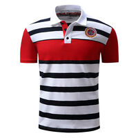 Men's Polo Striped Casual Shirts Summer Short Sleeve T Shirts 100%Cotton D133