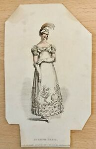 1816 Ackermann's Repository Hand Colour Regency Fashion Evening Dress Fragment
