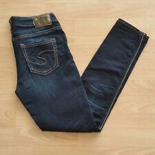 Silver Women's Aiko High Skinny Stretch Jeans Size 26 Blue Dark Indigo Wash