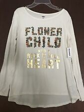 Old Navy Girls Graphic Tee Flower Child With A Rock N Roll Heart Nwt Xl (12-14)