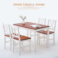 5 Piece Pine Wood Dining Set Rectangular Restaurant Dining Room Furniture