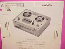1962 HARPERS TAPE RECORDER SERVICE SHOP REPAIR MANUAL BROCHURE MODEL NL-404