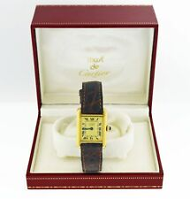 Vintage Must de Cartier Tank 20mm 925 Sterling Silver Vermeil Quartz Watch With