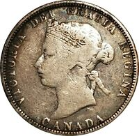 1870 Canada Silver 25 Cents, Twenty-Five Cents, KM-5, Fine Details, Scratched