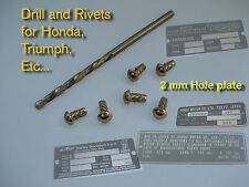 Rivets+ Drill 2 for Data Plates Honda, Triumph, Bsa, AMF H-D, AJS, Kawasaki