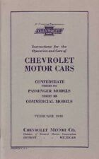 1932 Chevrolet Series BA & BB Owners Manual User Guide Instruction Operator Book