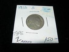 Antique Vintage 1913 S Buffalo Nickel Coin Good