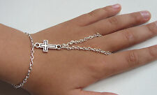 Silver Tone Hand Harness, Bracelet & Ring Armour, Slave Chain, Small Cross Charm