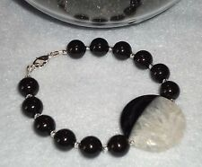 Round Drusy Onyx Banded Agate Bracelet made with Swarovski Pearls