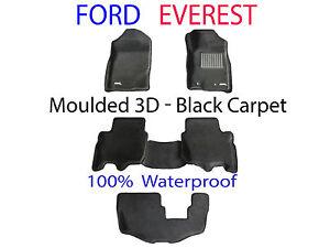 Fits Ford Everest 2015 - 2021 3D Black Carpet Car Floor Mats