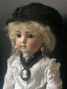 """Reproduction of Antique French Bebe Triste Jumeau 20"""" Doll by Opal Butler"""