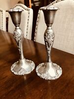 "Vintage Godinger Silver Art Co Silverplate Candle Holders 8.5"" Baroque Grape (2)"