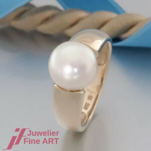 Süßwasserperlen Ring Bouton Perle 10 mm handgefertigt 4278