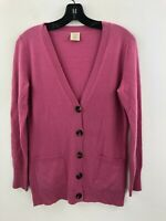 Olivia & Grace Cashmere Cardigan Sweater Womens Small Pink Pockets B6-11