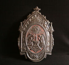ancienne plaque de procession religieuse catholique religion en laiton XVIII ème