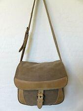 "LL Bean Shoulder Messenger Bag Beige Canvas Brown Leather 10"" x 9"" x 4"""