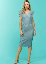 Little Mistress NWT UK size 16 teal lace embroidered nude lining pencil dress