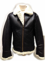 Mens Brown B3 Shearling Sheepskin World War 2 Fur Leather Flying Aviator Jacket