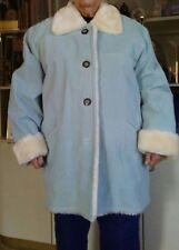 Atlantic Beach Light Blue Suede Womens winter Coat Beige Faux Fur Trim Size XL
