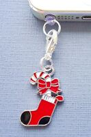 Christmas Stocking cell phone Charm Anti Dust proof Plug ear cap cover jack C171
