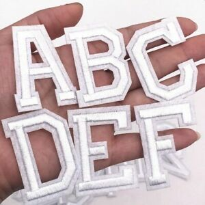 White Letter Patch Patches Sew on / Iron on Alphabet Embroidered Clothes Letters