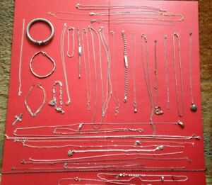 Nice Mixed Collection Of 35 Silver Chains Necklaces and Bracelets