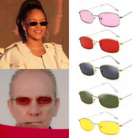 Candy Colors Rectangle Sunglasses Sun Glasses Metal Frame Small Retro Shades