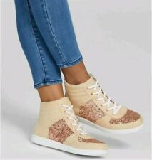 G By Guess Women's High Top Yesi Glitter Sneakers Faux Suede Size 8.5
