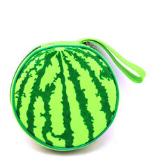 Green Watermelon Pattern 24 Capacity CD DVD Round Wallet Carrying Case Holder
