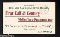 1901 Canada Pure Gold Manfg Co salesman's calling card UL17b  Kamloops cancel