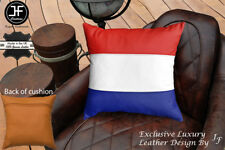 """NETHERLAND FLAG COLOUR LEATHER 1X EXCLUSIVE LUXURY CUSHION 18""""x18"""" TAN BACK"""